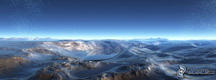 digitalt bergslandskap, stjärnor