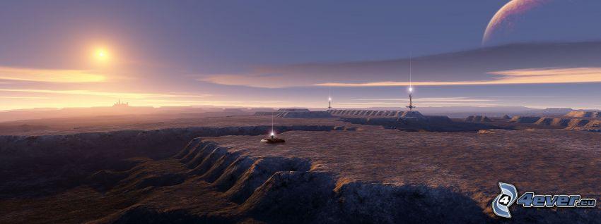 digitalt landskap, bas, sol, planet