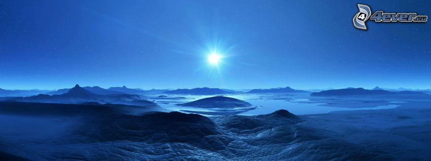 digitalt landskap, blå, måne, stjärnor