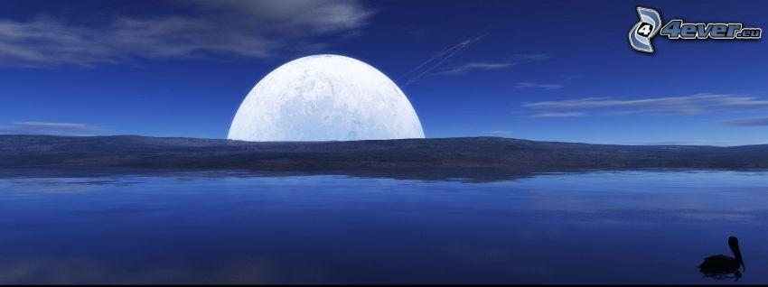 digitalt landskap, sjö, måne över huvudet