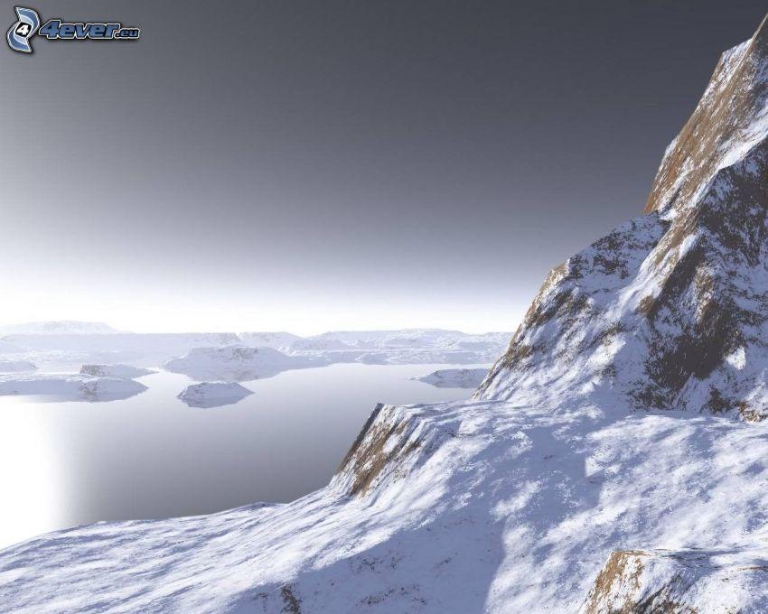 digitalt vattenlandskap, snöig backe, klippor, sjö