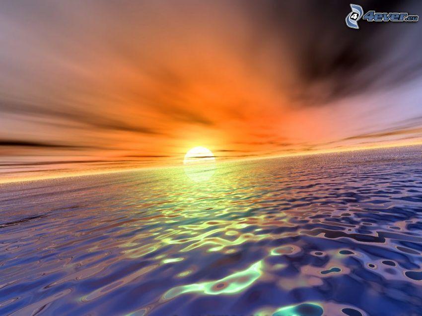 digitalt vattenlandskap, solnedgång över havet, orange himmel