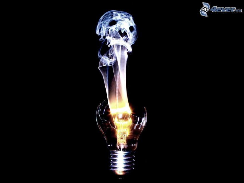 dödskalle, rök, glödlampa