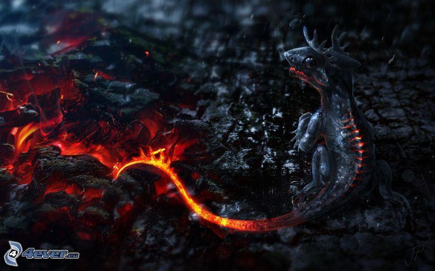 drake, glödande kol, eld, svans, fantasy