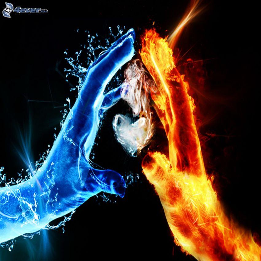 eld och vatten, händer, hjärta