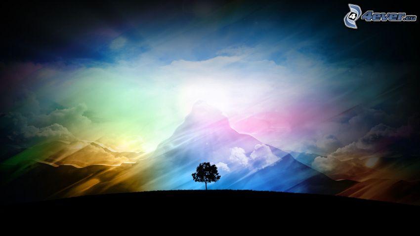 ensamt träd, färger, kulle