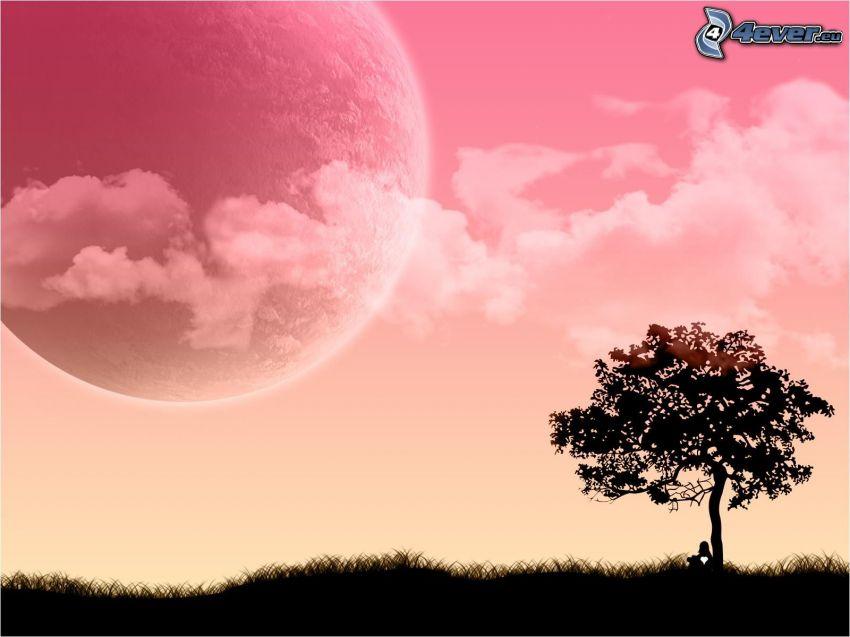 ensamt träd, måne