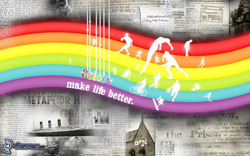 färggrann regnbåge, tidning, idrottare