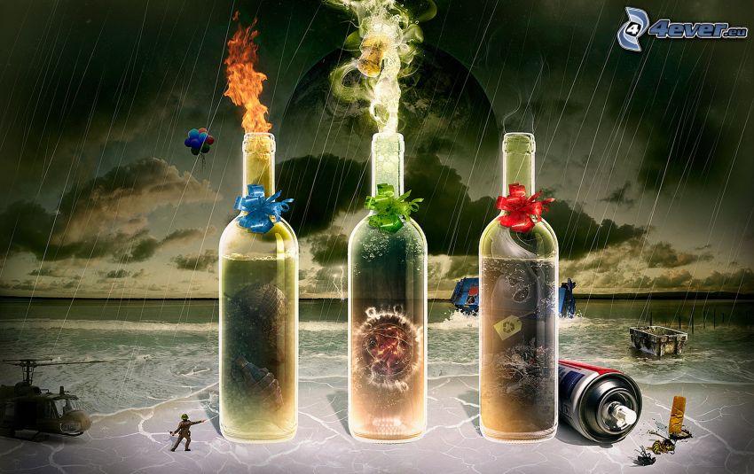 flaskor, plåtburk, regn
