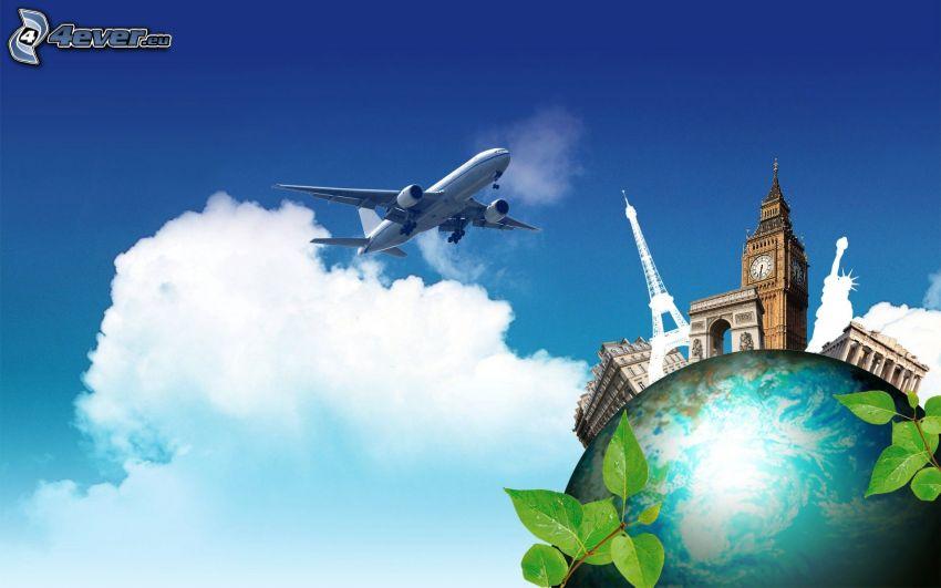 flygplan, Jorden, Eiffeltornet, Big Ben, Triumfbågen, Frihetsgudinnan, moln
