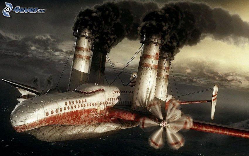 flygplan, skorstenar, kraftverk