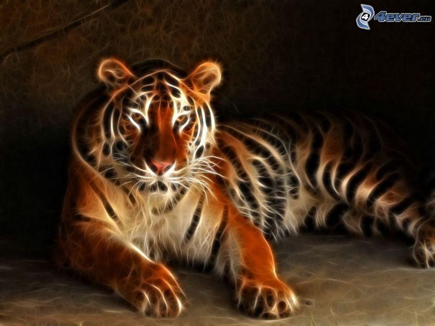 fraktal tiger, fraktaldjur