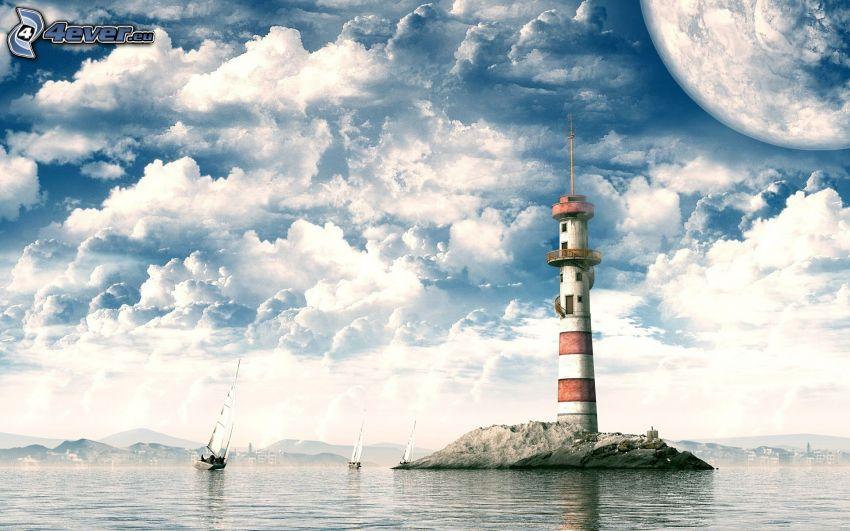 fyr på ö, moln, hav