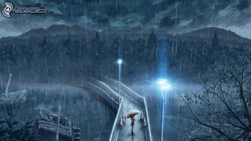 gångbro, kvinna med paraply, regn, lampa