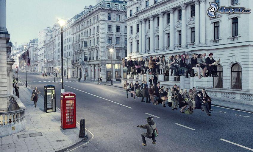 gata, människor, väg, doubledecker