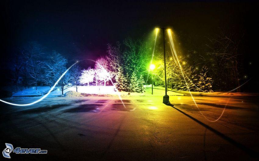 gatlykta, ljus, färger, natt, lightpainting