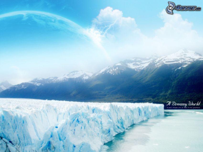 glaciär, fruset hav, snöig bergskedja, planet, vinter