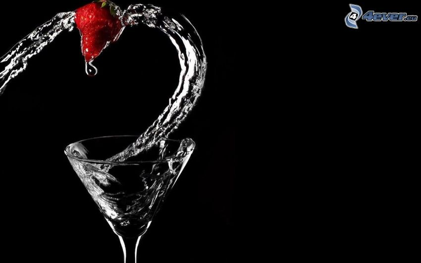 glas, vatten, jordgubbe