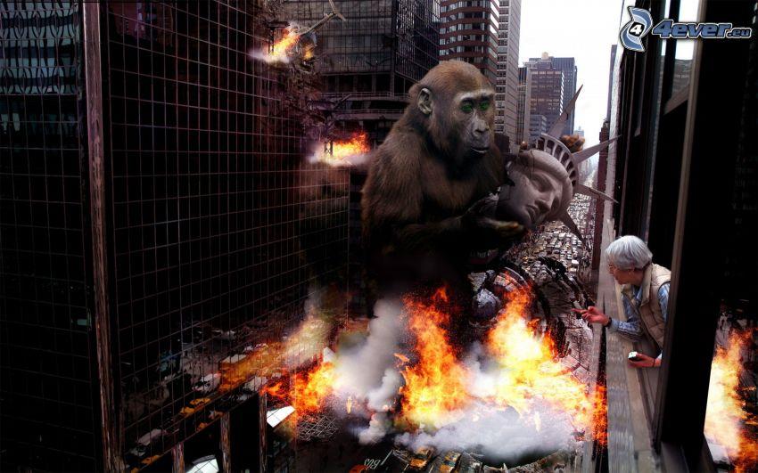 gorilla, Frihetsgudinnan, explosion, flammor, byggnader