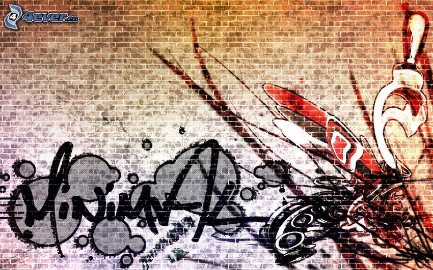 graffiti, tegelvägg