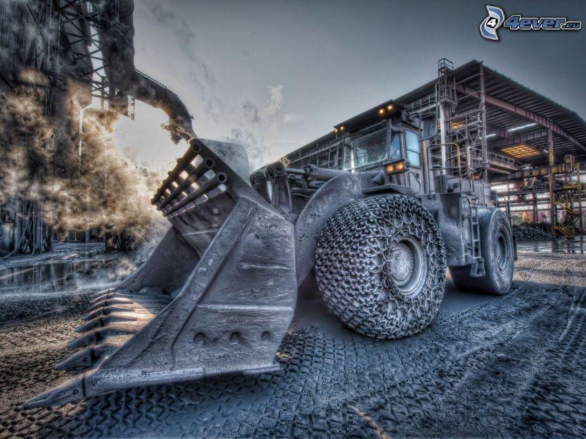grävmaskin, traktor, HDR