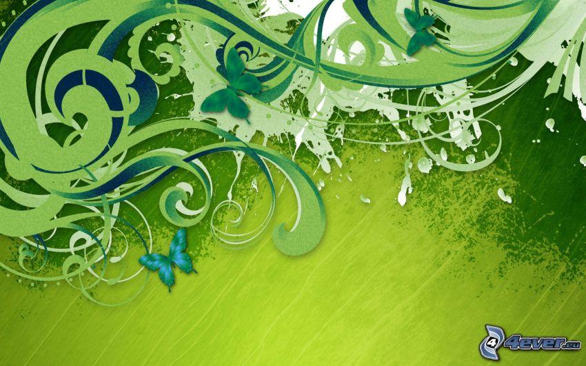 grön bakgrund, fjärilar