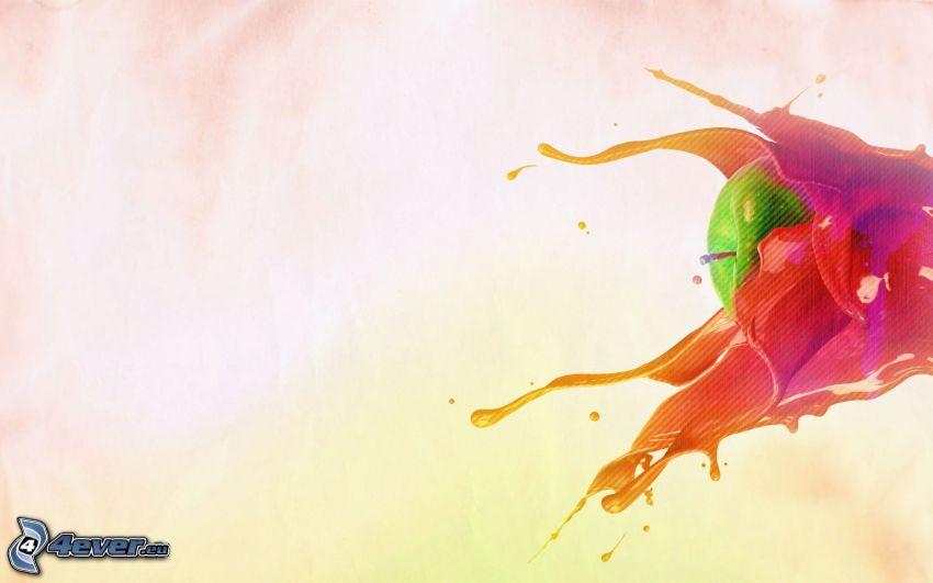 grönt äpple, röd färg, plask
