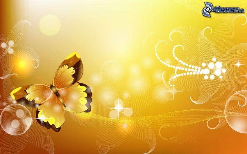 gul fjäril, abstrakta linjer