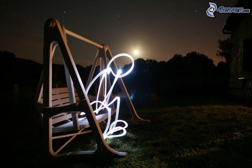 gunga, karaktär, natt, måne, lightpainting