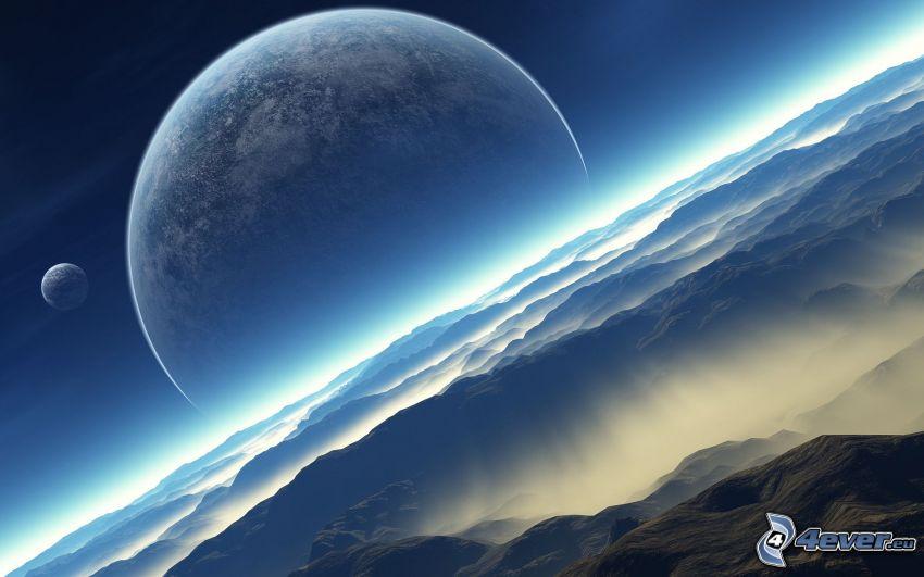 himmel, moln, måne, planet