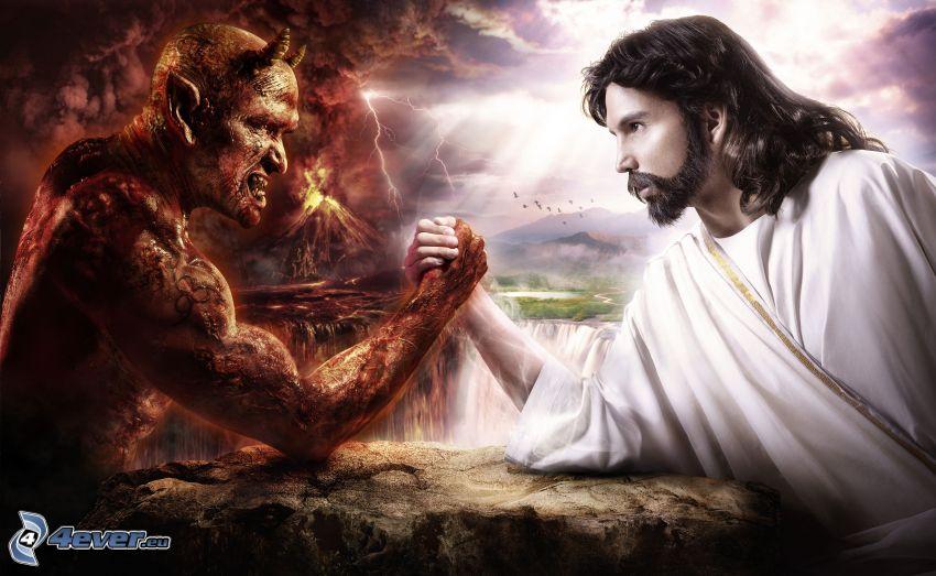 Jesus vs. Satan, duell, godhet och ondhet