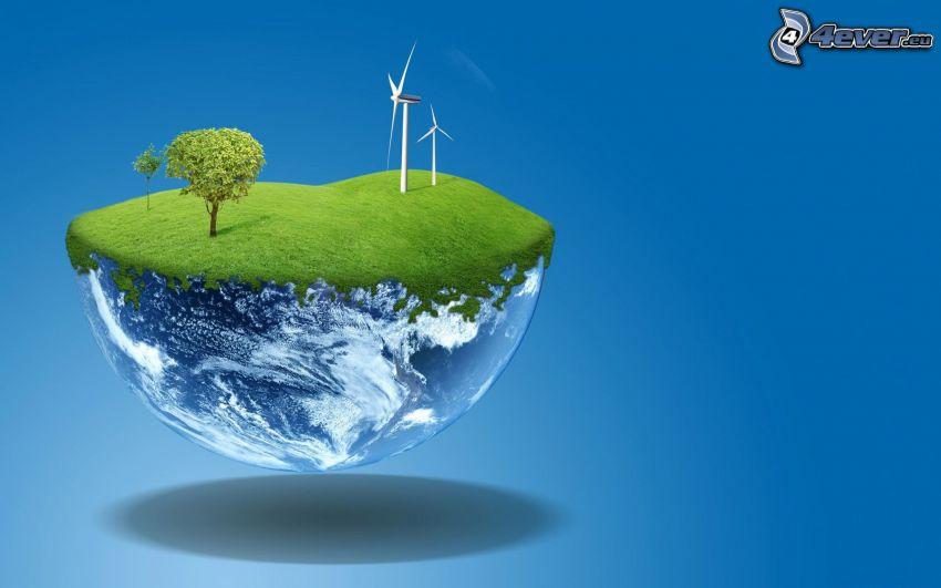 Jorden, vindkraftsverk, träd, gräs