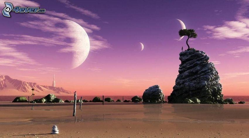 klippor, sand, planeter, lila himmel