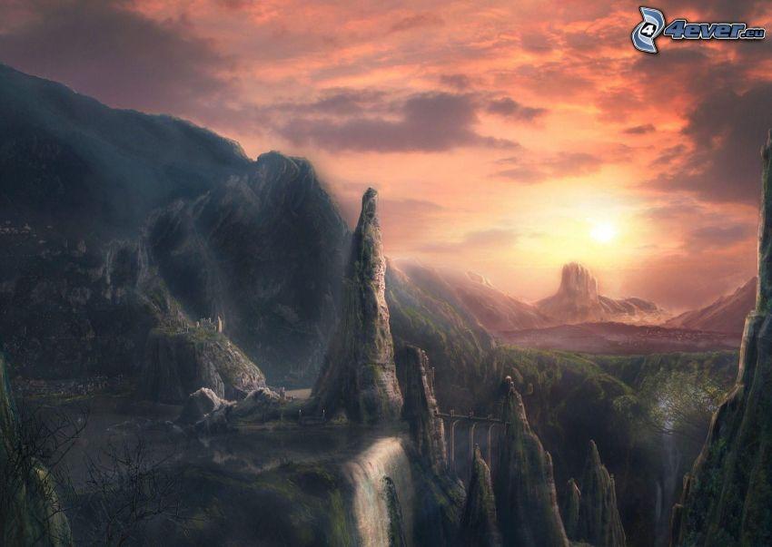 klippor, solnedgång, klippiga berg