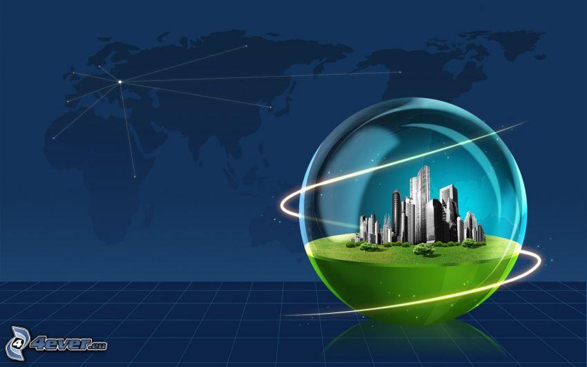 klot, skyskrapor, världskarta