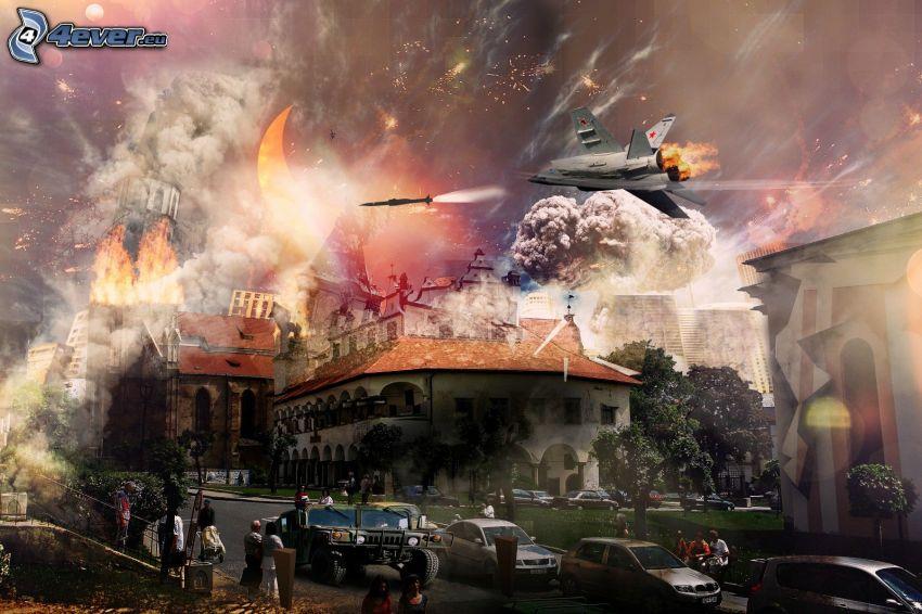 krig, jaktplan, collage, Levoča