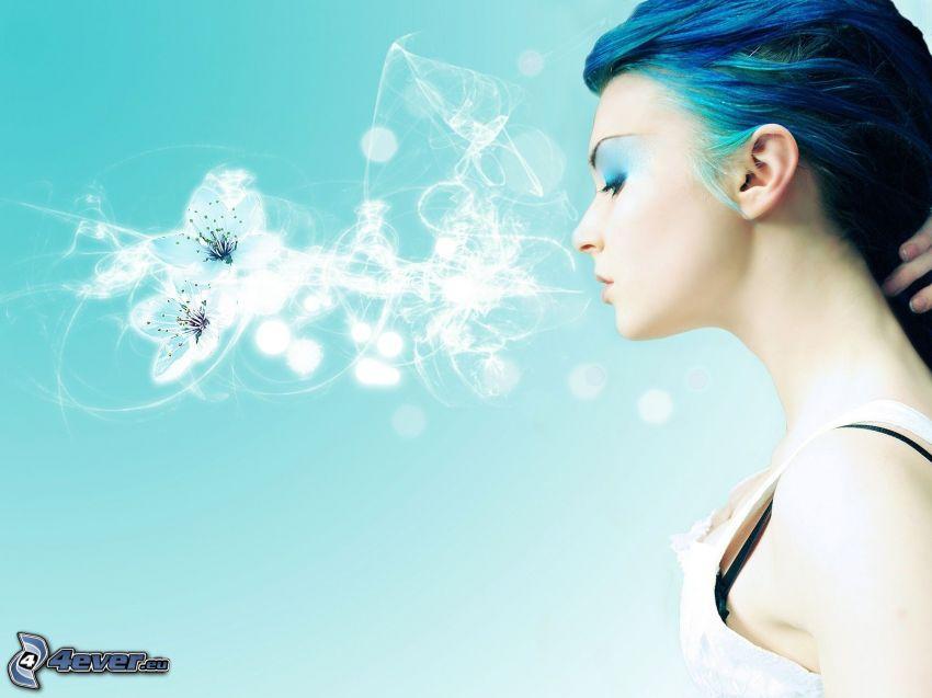 kvinna, abstrakta blommor