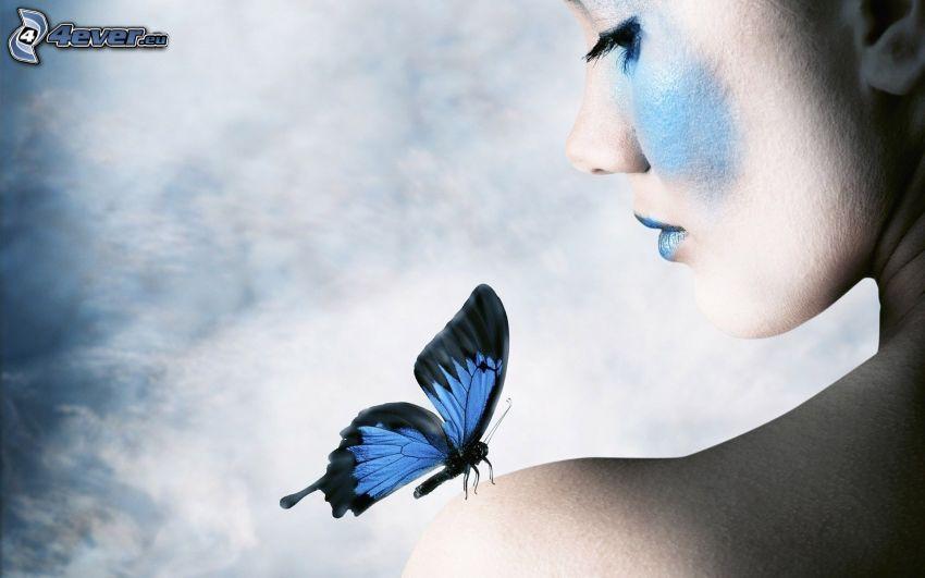 kvinna, blå fjäril