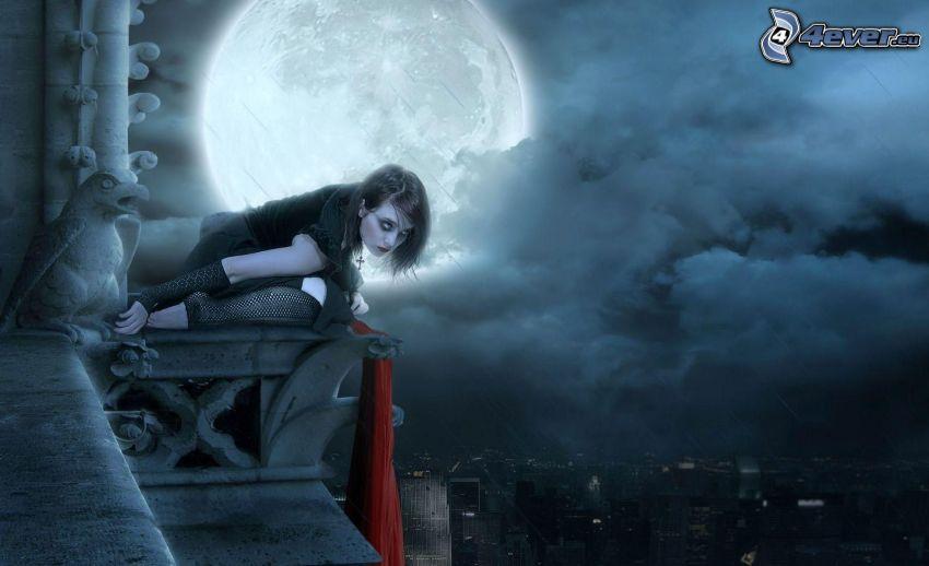 kvinna, måne, moln, stadsutsikt