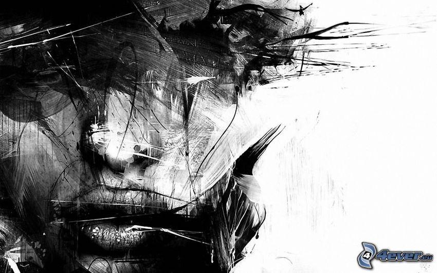 kvinnoansikte, svartvitt foto