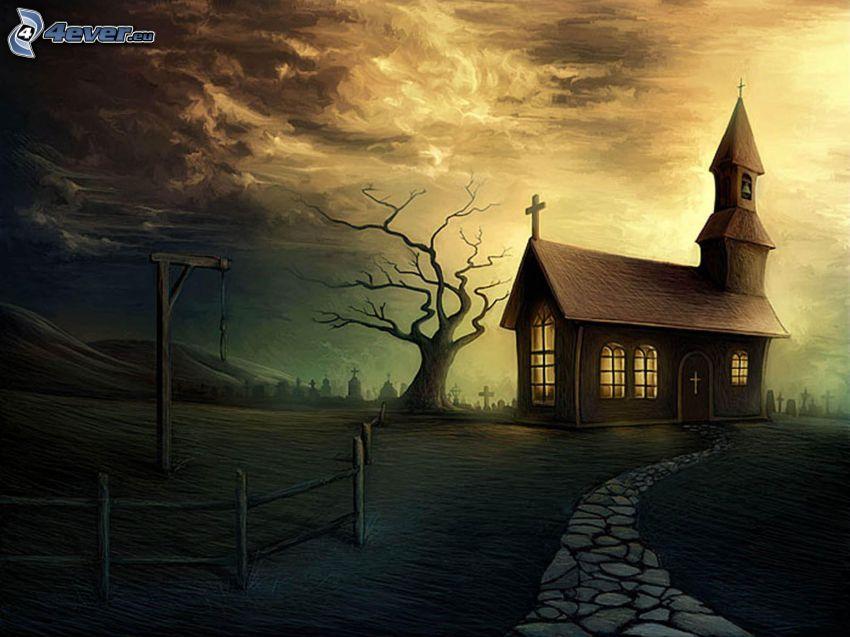 kyrka, trottoar, staket, träd
