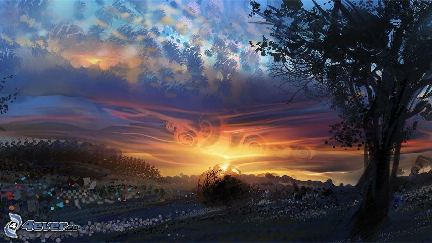 landskap, träd, solnedgång
