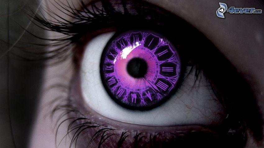 lila öga, klocka