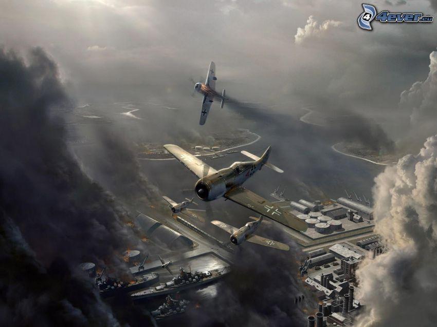 luftkrig, attack, hamn, luftwaffe