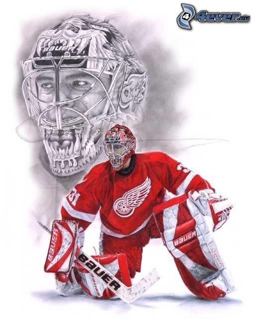 målvakt, hockeyspelare, hjälm, hockeyklubba