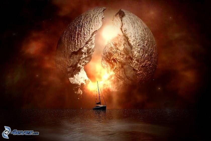 måne, båt, hav