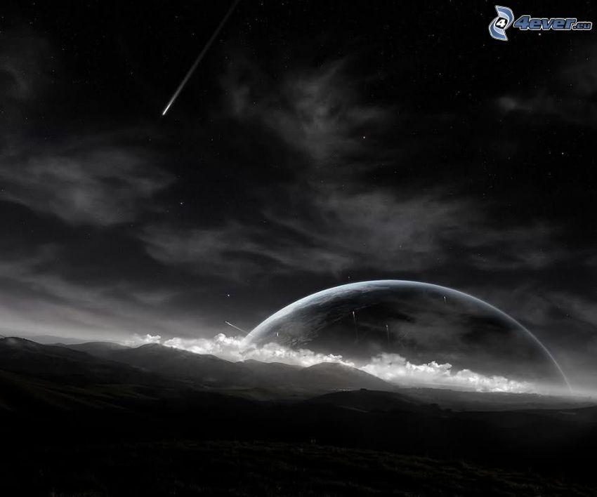 måne, hav, komet