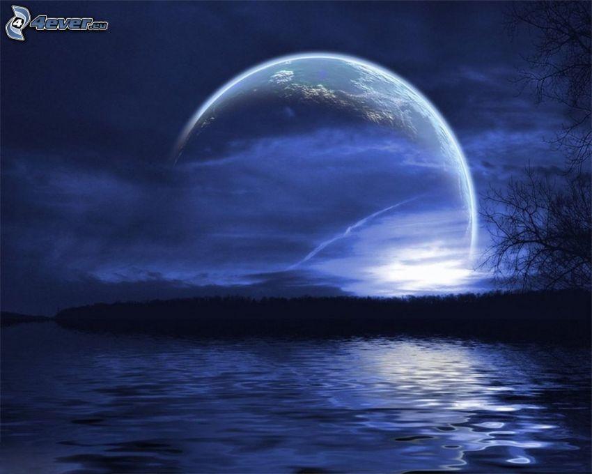 måne över huvudet, sjö, flod