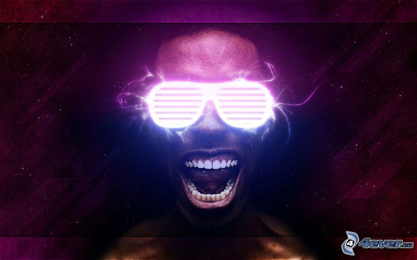 mörkhyad man, glasögon, ryt