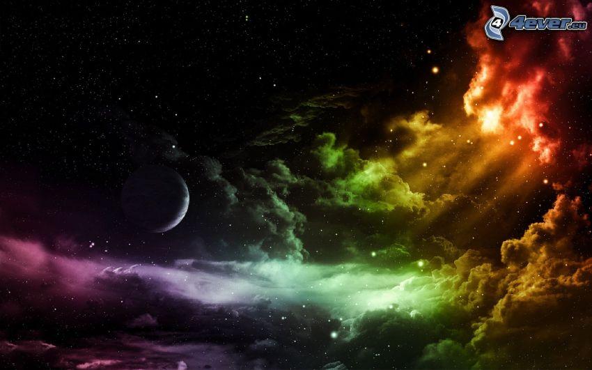 natthimmel, moln, planet